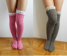 This listing is a Crochet PATTERN for knee high socks (or over the knee) with lace top, NOT a finished socks! Pattern is written in American Crochet terms and include 10 pages with 50 step by step pictures. Pattern includes directions on how to make croch Crochet Socks Pattern, Basic Crochet Stitches, Crochet Shoes, Crochet Slippers, Crochet Basics, Crochet Clothes, Crochet Patterns, Thigh High Socks, Knee Socks