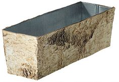 "RECTANGULAR BIRCH PLANTER w/ZINC 12"" Galvanized Planters, Wooden Containers, Birch, Natural, Nature, Au Natural"