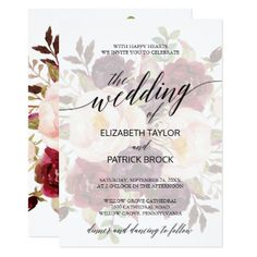 Elegant Calligraphy | Faded Floral Wedding Card - click to get yours right now!  #wedding #invitation #weddingideas #weddinginspiration  #flower #floral #botanical #garden #outdoor #nature #romantic #burgandy