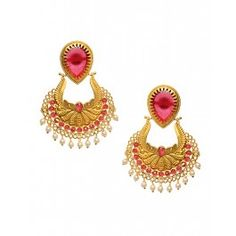 Dangling Earrings with Pink Stones