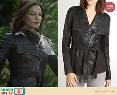 Regina's leather belted jacket on Once Upon a Time.  Outfit Details: http://wornontv.net/30638/ #OUAT