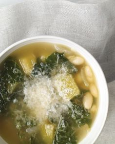 This quick one-pot soup -- with squash, kale, and cannellini beans