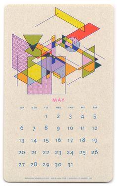 Paper Pusher Isometric Risograph Calendar - May
