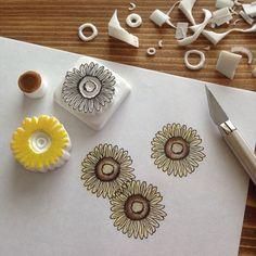 素敵なスタンプでハッピーに♩『TAM'S WORKS』の消しゴムはんこが可愛すぎる♡ | marry[マリー] Diy Resin Crafts, Diy And Crafts, Arts And Crafts, Paper Crafts, Stamp Printing, Printing On Fabric, Stencil, Ideas Paso A Paso, Stamp Carving