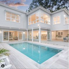 Swipe through to see the transformation of our blackbutt timber deck using White Exterior Oil Hamptons Style Homes, Hamptons House, Houses In The Hamptons, Hampton Pool, Villa, Timber Deck, Queenslander, Swimming Pool Designs, Swimming Pools Backyard