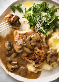A fabulous quick midweek meal - juicy pan seared Chicken with Mushroom Gravy. www.recipetineats.com