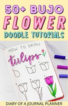 Make the pages of your bullet journal look stunning with these 50_ bullet journal flower drawing tutorials! #bulletjournaldoodles #howtodraw #flowerdoodles Easy Flower Drawings, Flower Drawing Tutorials, Drawing Flowers, Bullet Journal Mood, Bullet Journal Themes, Bullet Journal Layout, Love Doodles, Simple Doodles, Doodle Sketch