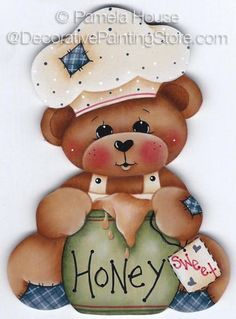 Honey Bear Painting E-Pattern par GingerbreadCuties sur Etsy Tole Painting, Fabric Painting, Pinterest Pinturas, Bear Clipart, Bear Paintings, Country Paintings, Cute Teddy Bears, Tatty Teddy, Country Crafts