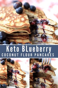 The very best Keto Blueberry Coconut Flour Pancakes are light, fluffy, and delicious! You'll love having this option as a change of pace. Keto Pancakes Coconut Flour, No Flour Pancakes, Cheese Pancakes, Keto Diet Drinks, Keto Foods, Low Carb Waffles, Starting Keto Diet, Keto Waffle, Sugar Free Syrup