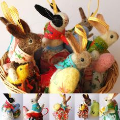 A basket full of bunnies. Dressed in vintage fabric, with felted eggs, flowers and chick. Available in Miss Bumbles shop 18.00 GMT  11.00AM CST  #etsyseller #bunniesofinstagram #easterbunny #felted animals #needlefeltedanimal