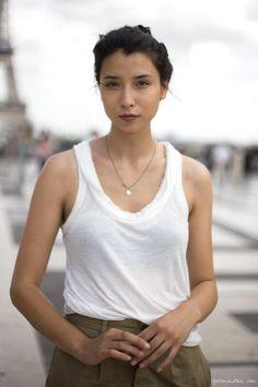 Lily Kwong, white top, khaki shorts / Garance Doré