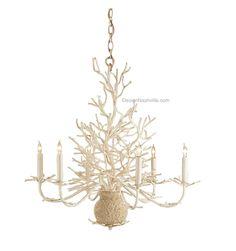 Antique White Faux Coral Chandelier