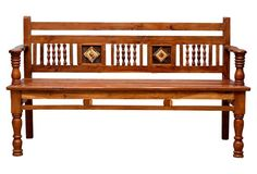 Crafted from teak planks, this bench harbors a straight back with diamond-shaped, porcelain tile embellishments among carved spindles. The bench sits on traditional legs and has open stretchers around Wood Sofa, Teak Wood, Wood Furniture, Furniture Design, Wooden Sofa Designs, British Colonial Style, Architectural Elements, Wood Colors, Decks