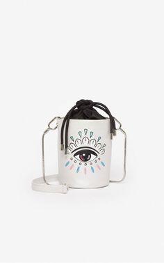 Kontact Eye mini hobo bag | Kenzo Cow Leather, Leather Handle, Paris Logo, Eye Logo, Eye Pattern, Hobo Bag, Kenzo, Trainers, Casual Outfits