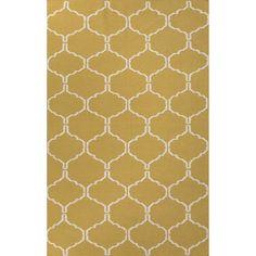 Jaipur Rugs FlatWeave Geometric Pattern Green/Ivory Wool Area Rug MR95 (Rectangle)