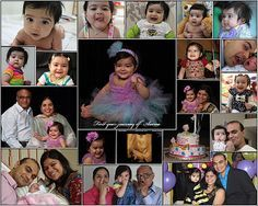 1st birthday baby girl collage