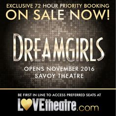 DREAMGIRLS Exclusive 72 Hour Priority Booking is now on! ♡ Starring Amber Riley, the award-winning Broadway musical makes its UK and West End premiere at London's Savoy Theatre from 19 Nov - http://www.LOVEtheatre.com/search/DREAMGIRLS #LOVEtheatre #Dreamgirls #AmberRiley #WestEnd #London #Theatre #Musical #SavoyTheatre