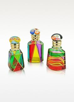Due Zeta Marco Polo Murano Glass Perfume Bottles Hand Decorated