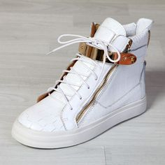 9b257ea1d Giuseppe Zanotti Mens High Top Croc Embossed Buckle Sneakers In White  Model  gzmenshoes005 580 Units