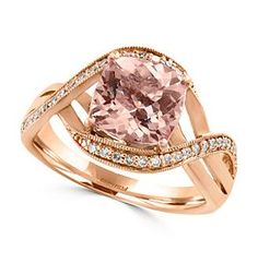 Effy® 0.17 ct. tw. Diamond and Morganite Ring in 14K Rose Gold