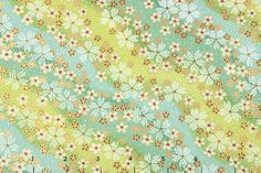 japanese chiyogami yuzen paper | The Paper Studio: Green - Whimsical stream chiyogami, yuzen paper