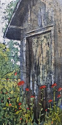 "Hooper's Garden Shed - 24 x 12"" Watercolor on rice paper by Krista Hasson"
