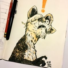 Inktober Drawing 18 - Watching Ice Age with my kids, had to draw this closeup shot of Buck. #inktober #inktober2016
