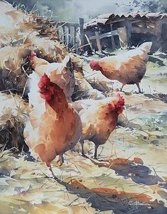 art acuarela Watercolor Painting By Christian Graniou Watercolor Pictures, Watercolor Artwork, Watercolor Artists, Watercolor Bird, Watercolor Animals, Watercolor Landscape, Landscape Paintings, Simple Watercolor, Watercolor Portraits
