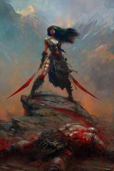 by female woman fighter warrior barbarian sword duel wielding fantasy art blood war paint Foto Fantasy, Fantasy Kunst, 3d Fantasy, Fantasy Warrior, Fantasy Women, Medieval Fantasy, Fantasy Artwork, Dark Fantasy, Woman Warrior