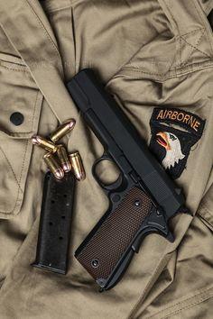 on a Airbourne Field Jacket 3 Weapons Guns, Guns And Ammo, Pocket Pistol, Colt 1911, Shooting Guns, Military Guns, Tactical Gear, Airsoft, Firearms