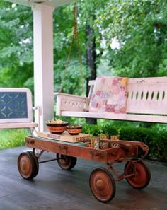 Summer front porch~LOVE the games and snacks idea inside the red wagon