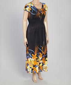 VELZERA Black Floral Scoop Neck Maxi Dress - Plus by VELZERA #zulily #zulilyfinds