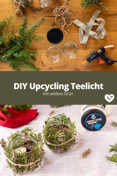 DIY Teelicht mit wildem Grün | Glas Upcycling | Koch mit Herz Recycling, Diy Upcycling, Table Decorations, Home Decor, Cook, Simple Diy, Heart, Deutsch, Dekoration