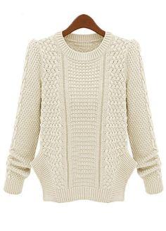 Краткий вокруг шеи щелевая Дизайн вязание свитера - белый