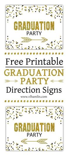 Black and Gold Polka Dots Graduation Party Sign Set Graduation Food, Graduation Party Planning, College Graduation Parties, Graduation Celebration, Graduation Decorations, Graduation Party Invitations, Grad Parties, Fun Party Themes, Party Ideas
