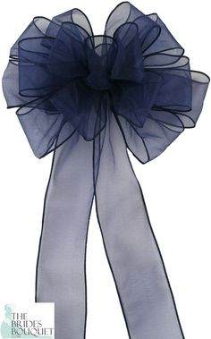 TheBridesBouquet.com - Pew Bows Navy Sheer - Set of 4 Navy Bows - Reception Decoration, $19.99 (http://www.thebridesbouquet.com/pew-bows-navy-sheer-set-of-4-navy-bows-reception-decoration/)