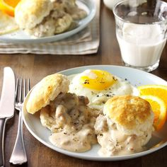 Biscuits and Sausage Gravy. Biscuits and Sausage Gravy Recipe -This is an old Southern recipe that I've adapted. It's a classic hearty breakfast that takes you on a trip to the South every time it's served. Breakfast Dishes, Best Breakfast, Breakfast Recipes, Breakfast Ideas, Brunch Recipes, Pancake Recipes, Breakfast Time, Brunch Food, Brunch Dishes