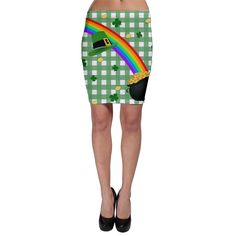 St. Patrick's day rainbowShow off your curves with this bodycon skirt that can be fully customized to your own liking. No matter what fashion icon you follow or what quirky unique style you have, this is the perfect addition to your wardrobe and is guaranteed to be your next staple piece because it is quite literally designed for you.   Made from 90% Polyester, 10% Spandex Soft, stretchy, lightweight and quick drying fabric Body con fit Fully customizable Hand wash in cold water only Desi...