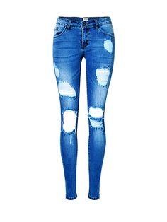 Broken Hole Pocket Ripped Light Wash Slim-Leg Low-Rise Jean
