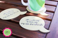 Set of 4 quirky, yellow coasters by CutOutsProductDesign on Etsy My Tea, Coasters, Yellow, Etsy, Drink Coasters, Coaster Set, Coaster
