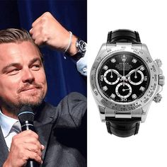Leonardo Dicaprio wears Rolex Cosmograph Daytona in White gold with black diamonds dial. Presenting the finest Men's Watches collection inspiration sharing. Best gift for men in fine suits. Rolex Daytona Gold, Rolex Cosmograph Daytona, Cool Watches, Rolex Watches, Black Rolex, Best Watch Brands, Expensive Watches, Best Gifts For Men, Fine Men