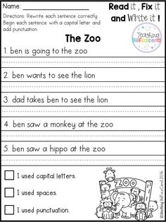 FREE Fix It Up Sentences Free 20 fix it up pages. These are great for students in kindergarten, first grade, and second grade. Students get extra practice reading, editing and rewriting the reading passages. 1st Grade Writing Worksheets, First Grade Writing, Kindergarten Worksheets, Punctuation Activities, 1st Grade Activities, Free Worksheets, Grammar Worksheets, Work Activities, Math Games