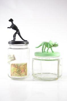 Dinosaur vintage mason jar set by ShopBlackMatter on Etsy Funky, paper weight, retro decor, mod, office, kids room, decorations, bright decor, colorful, kitschy, retro style, knick knack, bookshelf  , $19.00