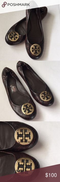 Tory Burch Reva Flats! Tory Burch Reva Flats! Beautiful leather! Animal print brown with black! Gold metal Tory Burch logo on the front! Women's size 13! Great condition! Very gently used a few times! Tory Burch Shoes Flats & Loafers