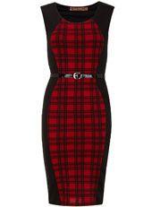 Red black check insert dress $55