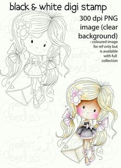Girl themes Digital Stamp printables perfect for digital cards, digi scrap kit, digital scrapbooking, cardmaking hybrid crafting Colouring Pages, Coloring Books, Whimsy Stamps, Digital Stamps, Digital Scrapbooking, Copics, Adult Coloring, Embroidery Patterns, Cardmaking