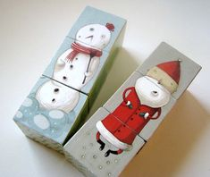 Handmade Christmas Puzzle for Kids...make any picture...print them out and modge podge
