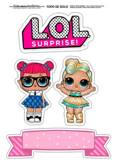 Top of Paper Cake to Print Several Free Templates - Drawings to color Lol Doll Cake, Rosalie, Birthday Frames, Doll Party, Paper Cake, Lol Dolls, Birthday Cake Toppers, Diy For Kids, Diy Crafts