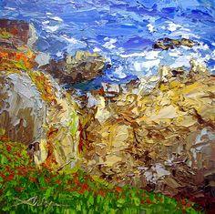 """Rocky Shoreline 24"""" x 24"""" Palette Knife Oil www.ArlonRosenoff.com"""