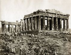 The Acropolis,Athens 1875 photo :Konstantin Athanasiou History Of Photography, Vintage Photography, Old Photos, Free Photos, Parthenon Athens, Greece Pictures, Classical Antiquity, Greek History, Classic Architecture